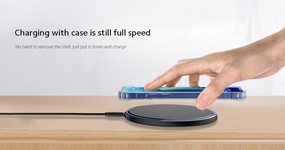 KUULAA KL-CD03 Ultra Thin QI 10W Wireless Charger Charging with case is still full speed