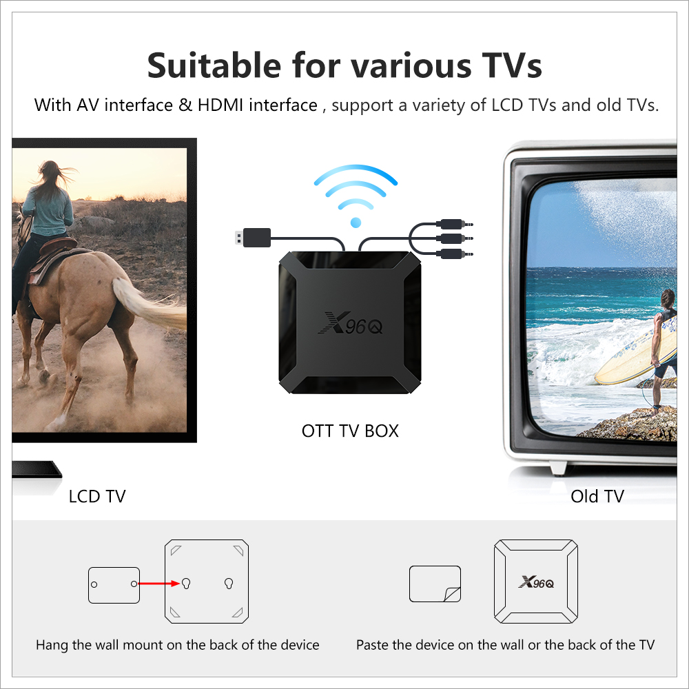X96 X96Q Android 10.0 Smart 4K TV Box - Black 1GB+8GB EU Plug