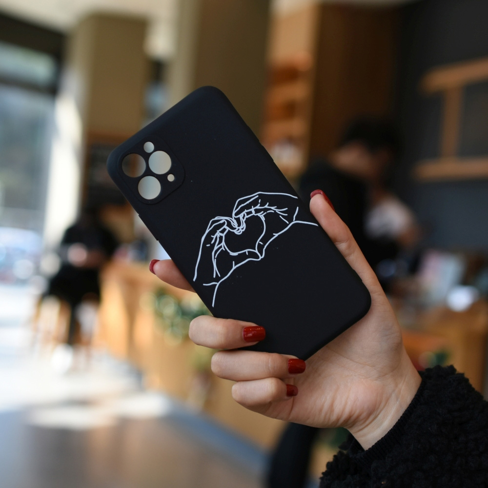 C1220-03805BK2 Love Gesture Painted Soft Mobile Phone Case for iPhone 11 / 11 Pro / 11 Pro Max / 12 / 12 Pro / 12 Pro Max / 12 Mini - Black for iPhone 12 Pro