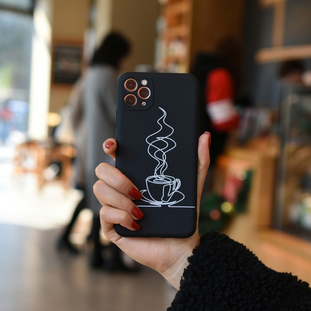 C1220-03803BK2 Tea Ceremony Strorn Painted Soft Mobile Phone Case for iPhone 11 / 11 Pro / 11 Pro Max / 12 / 12 Pro / 12 Pro Max / 12 Mini - Black For iPhone 11