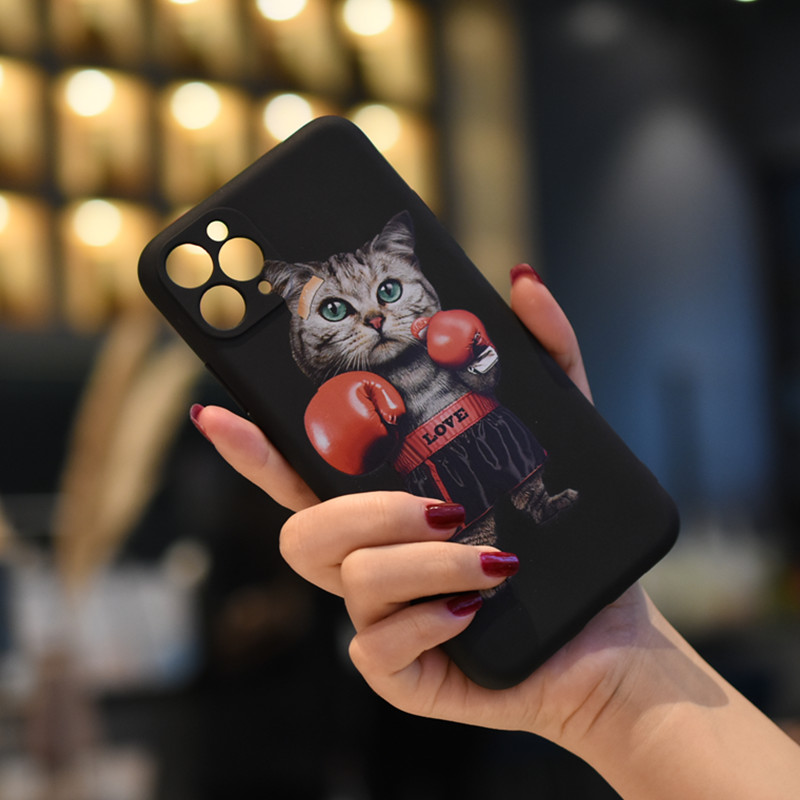 C1220-01420BK2 Boxing Cat Matte Painted Soft Mobile Phone Case for iPhone 11 / 11 Pro / 11 Pro Max / 12 / 12 Pro / 12 Pro Max / 12 Mini - Black For iPhone 11