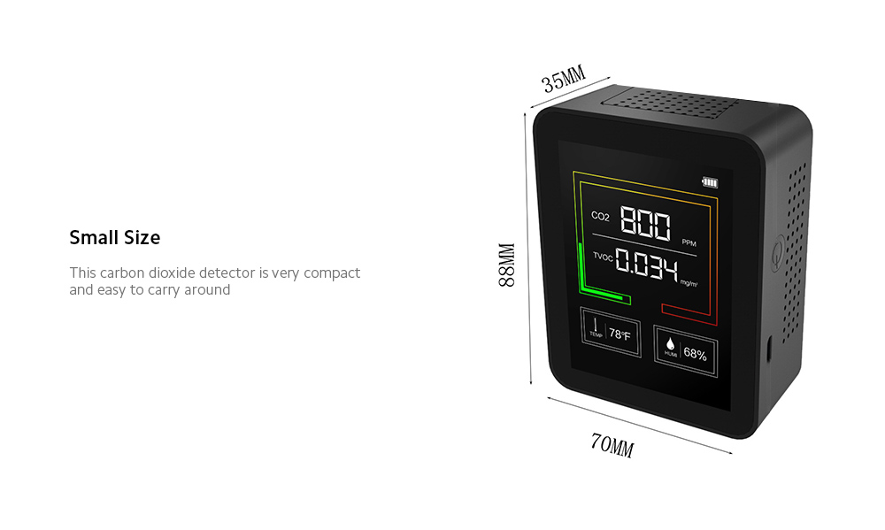 ZN-2CO2B Carbon Dioxide Detector Size