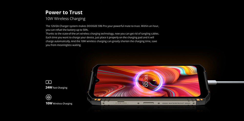 DOOGEE S96 Pro Smartphone IP68 IP69K 8GB 128GB Helio G90 NFC Android 10 6350mAh 6.22 inch 48MP Round Quad Camera 20MP Infrared Night Vision 4G Smartphone - Orange EU Version