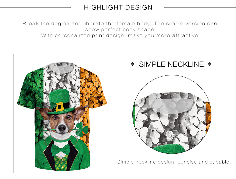 3D Digital Print Large Size Short Sleeve T-Shirt Simple neckline