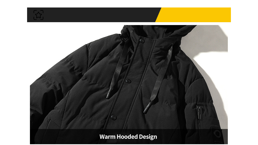 DS Men Winter Fashion Hooded Men Thick Warm Coat Fabric