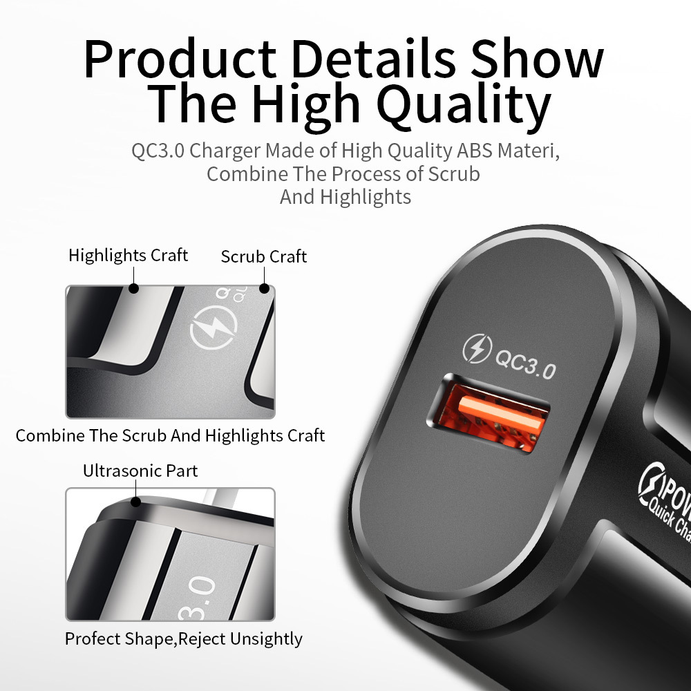 UC3746 Charger QC3.0 Smartphone Tablet Adapter USB Charging High-end Battery Charger - Black EU Plug