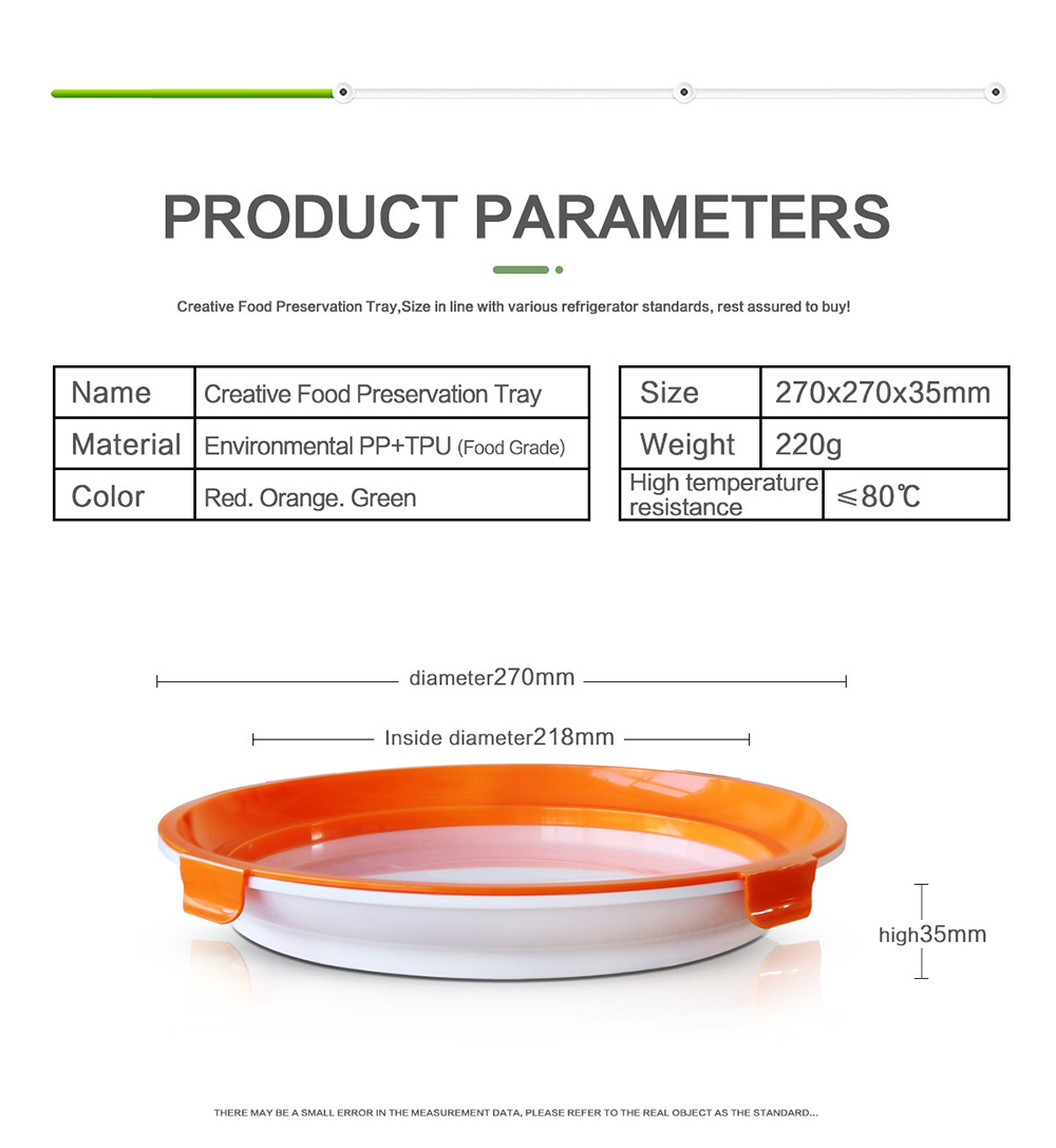 Clever Tray New Upgraded Vacuum Preservation Tray Food Grade Safety - Orange