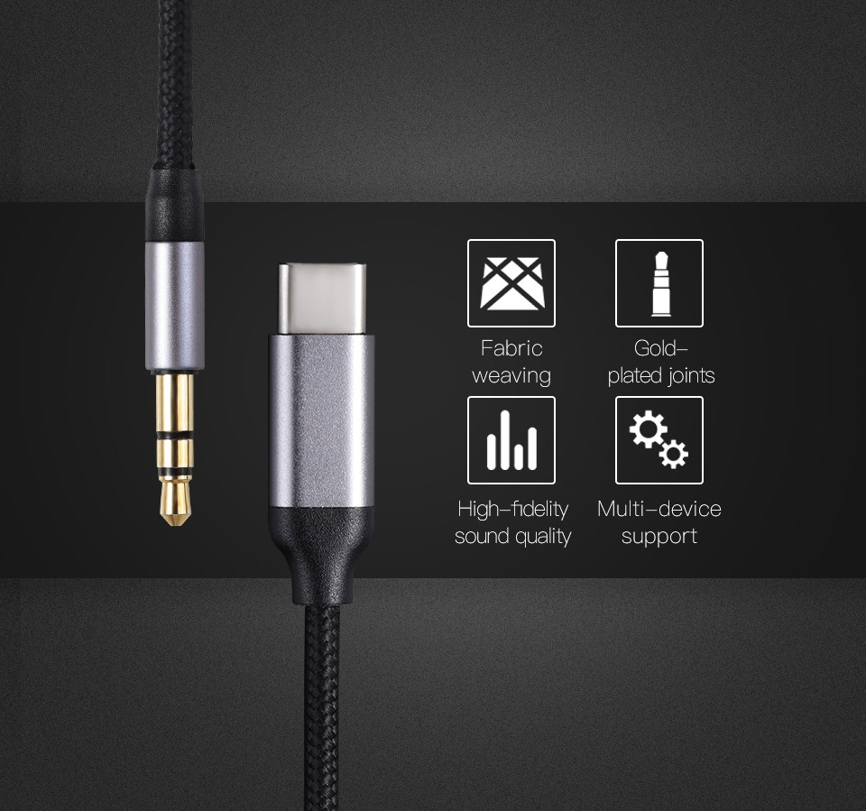 KUULAA KL-O09 Cable Type-C 3.5mm Audio Cable features