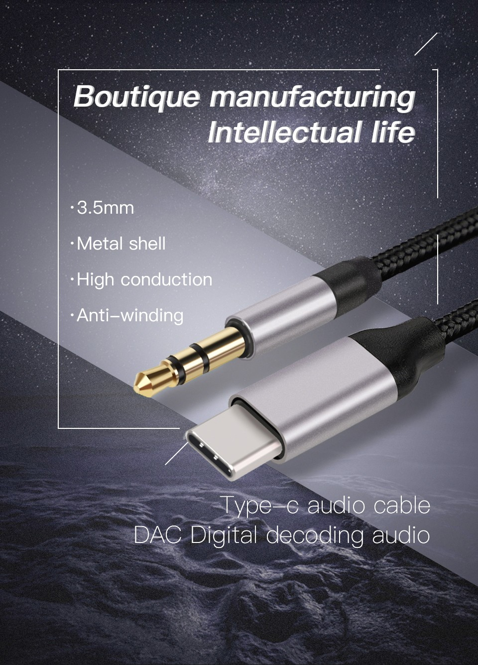 KUULAA KL-O09 Cable Type-C 3.5mm Audio Cable