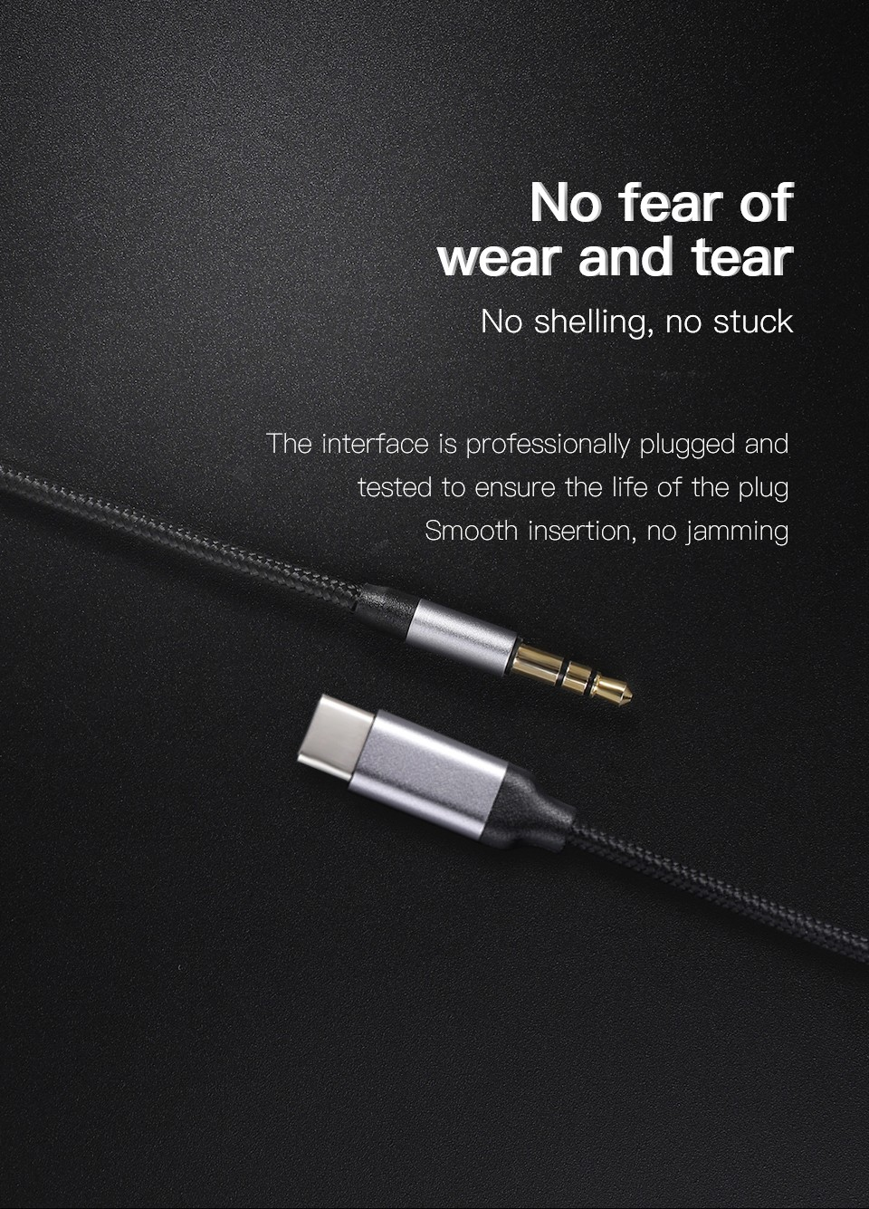 KUULAA KL-O09 Cable Type-C 3.5mm Audio Cable No fear of wear and tear