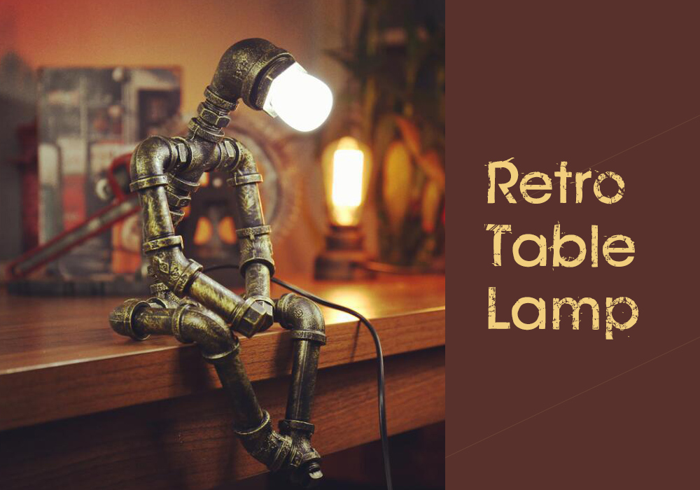 Retro Table Lamp Standing Lamp Industrial Style Personality Creative Iron Pipe Loft Coffee Bar Robot Lamp Button Switch - Yellow EU Plug