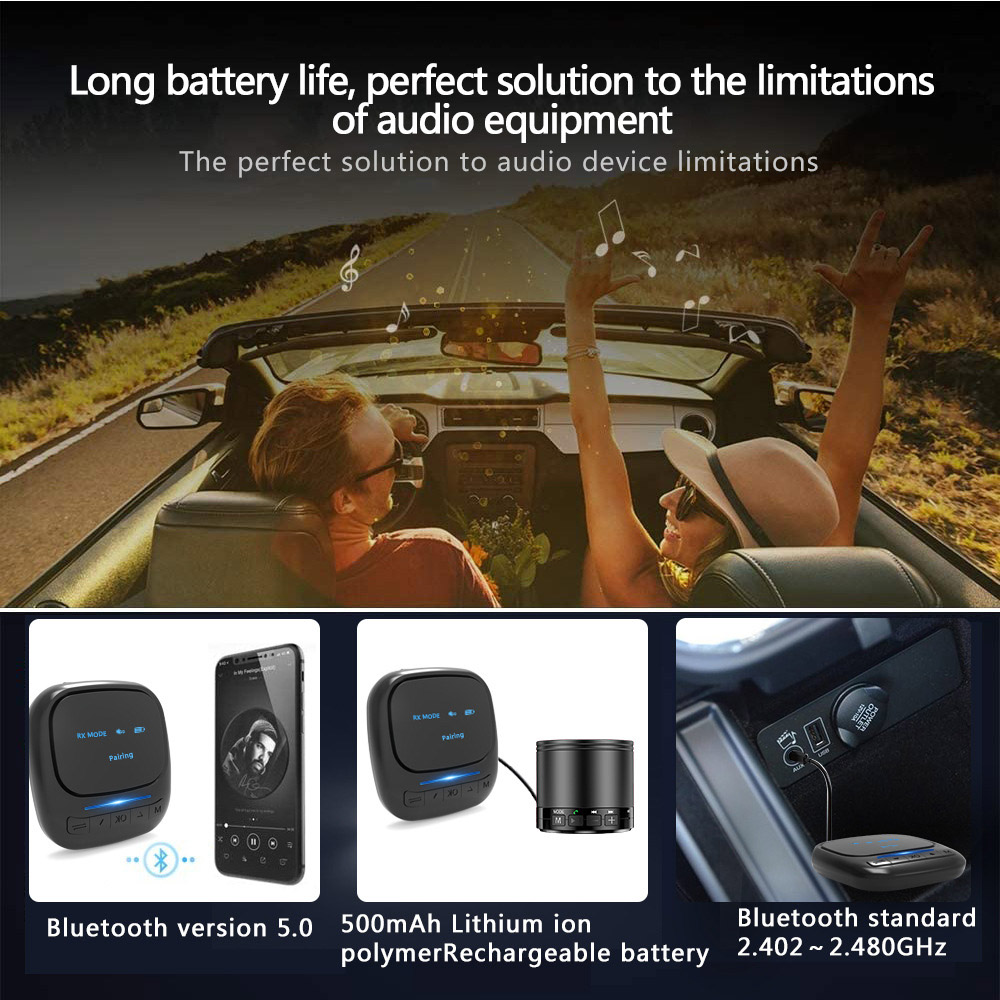 Converter OLED Bluetooth Audio Receiving Transmitter Two-in-one CSR5.0 Car Home Wireless Adapter - Black