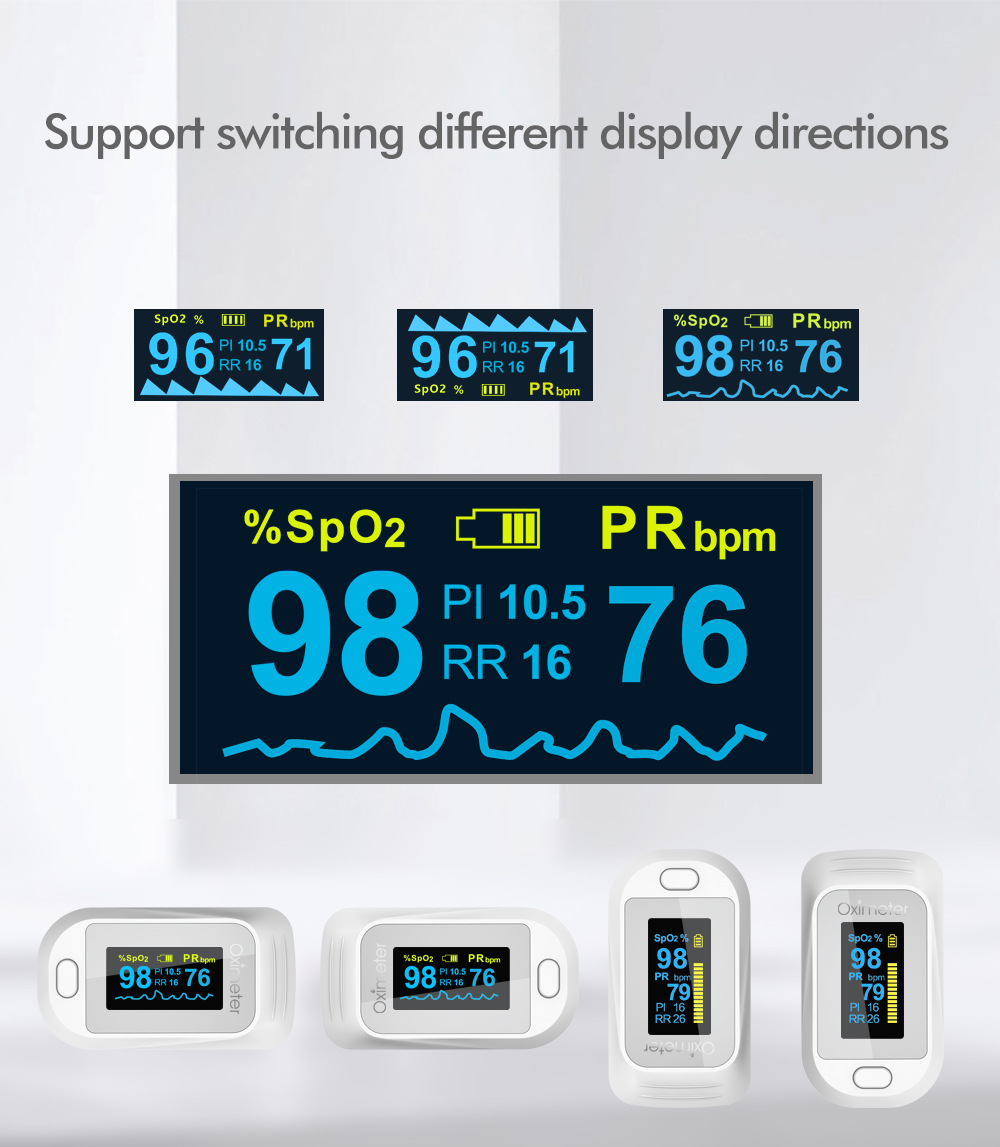 JZ-133R Finger Clip Oximeter Support switching different display directions