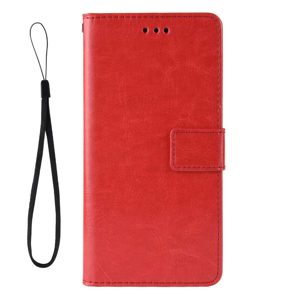 ASLING PU Leather Cover with Holder Wallet Card Storage Phone Case for Xiaomi Redmi Note 9S / Redmi Note 9 Pro / Redmi Note 9 Pro Max - Lava Red