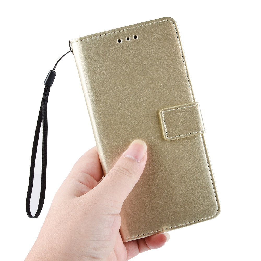 ASLING PU Leather Cover with Holder Wallet Card Storage Phone Case for Xiaomi Redmi 9 - Golden
