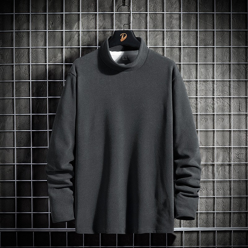Men's Autumn And Winter Long-sleeved T-shirt Solid Color Double-sided Angora Warm Korean Men's High-necked Shirt - Green Light Pink M