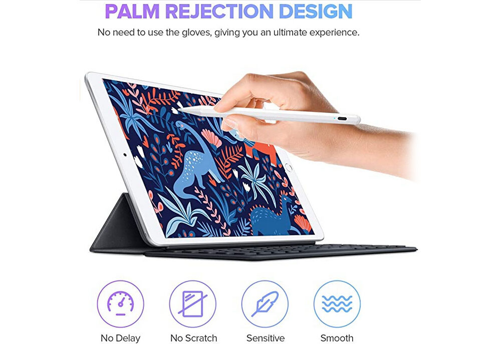 Stylus Pen for iPad with Palm Rejection Active Pencil - White For iPad, touch switch + tilt pressure sensitivity + anti-inadvertent touch