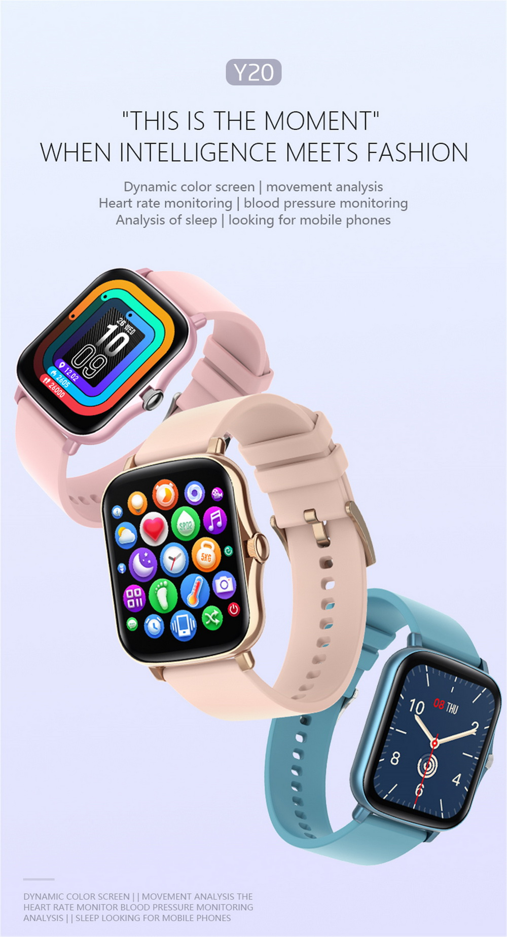 Y20 Smart Watch 1.7 inch Large Screen Rotation Button SME Heart Rate Blood Pressure Message Remote Control - Blue