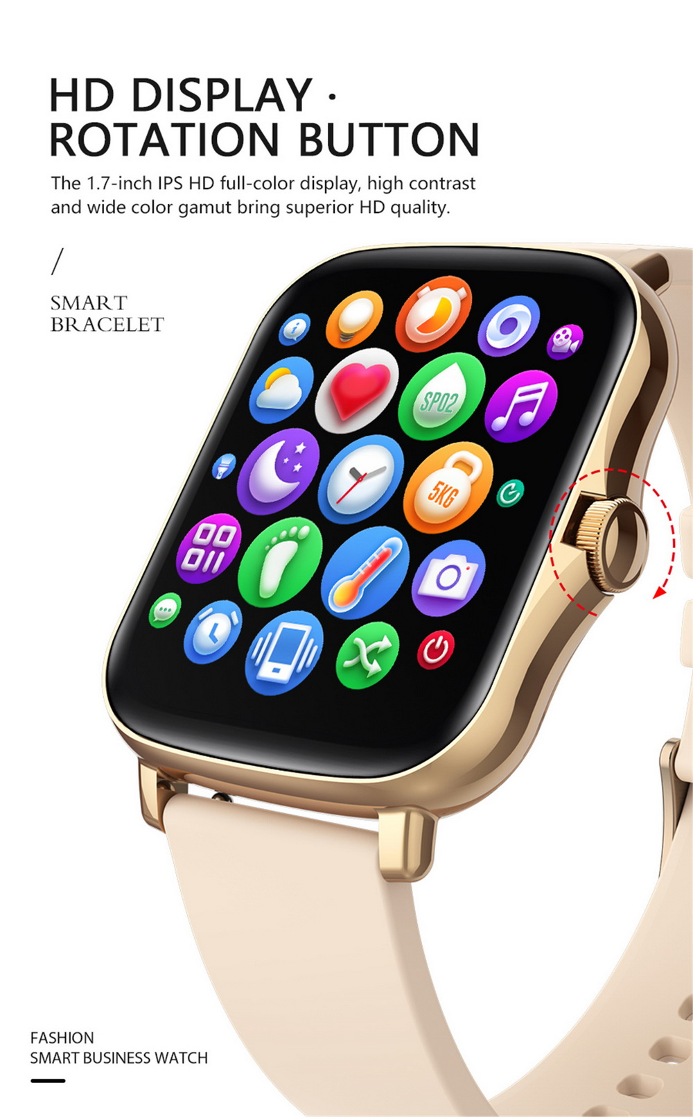 Y20 Smart Watch 1.7 inch Large Screen Rotation Button SME Heart Rate Blood Pressure Message Remote Control - Pink