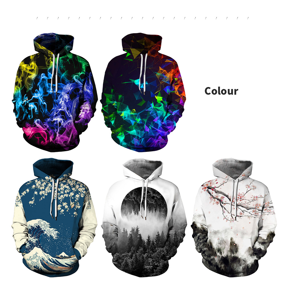 Amoy 3D Forest Digital Print Hooded Sweater