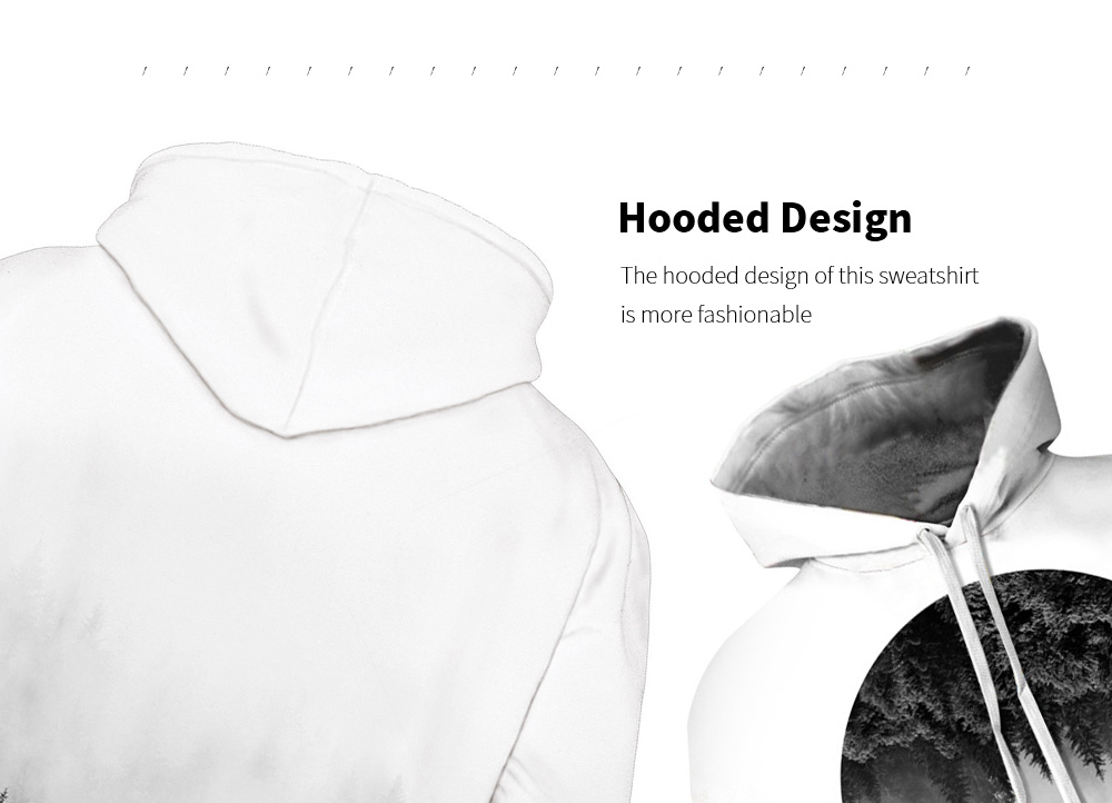 Amoy 3D Forest Digital Print Hooded Sweater Hooded