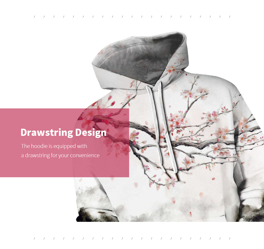 Amoy 3D Forest Digital Print Hooded Sweater Drawstring