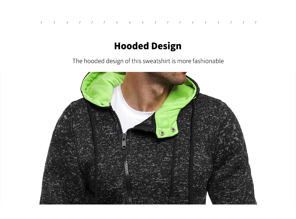 Men's Casual Fashion With Hooded Sweater Men's Jacket - Black XXL