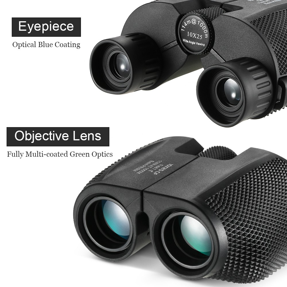 Professional Binocular Telescope 10X25 BAK4 Prism High Powered Zoom - Black