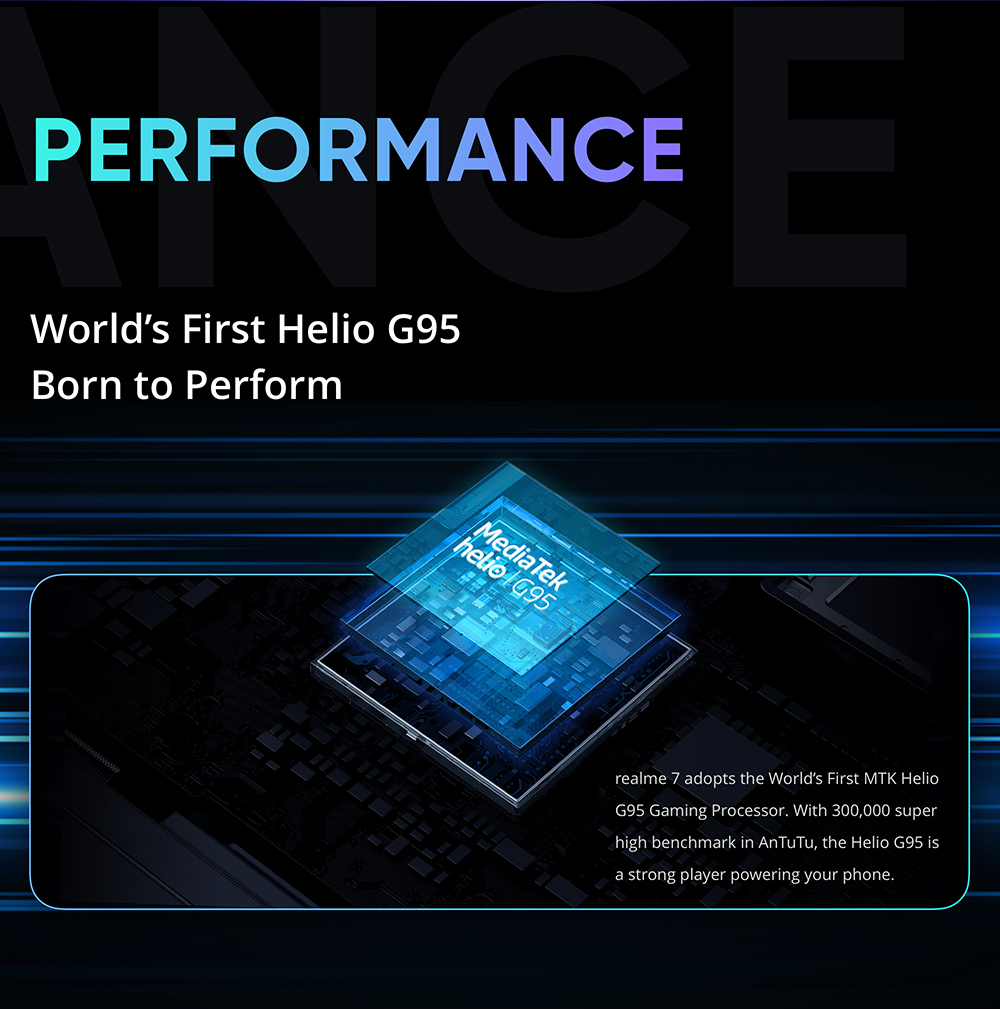 Realme 7 Smartphone 6.5 Inch FHD Display 90Hz Refresh Rate Helio G95 Gaming Processor NFC 8GB 128GB 48MP AI Quad Camera Octa Core 5000mA 30W Dart Charge - Blue
