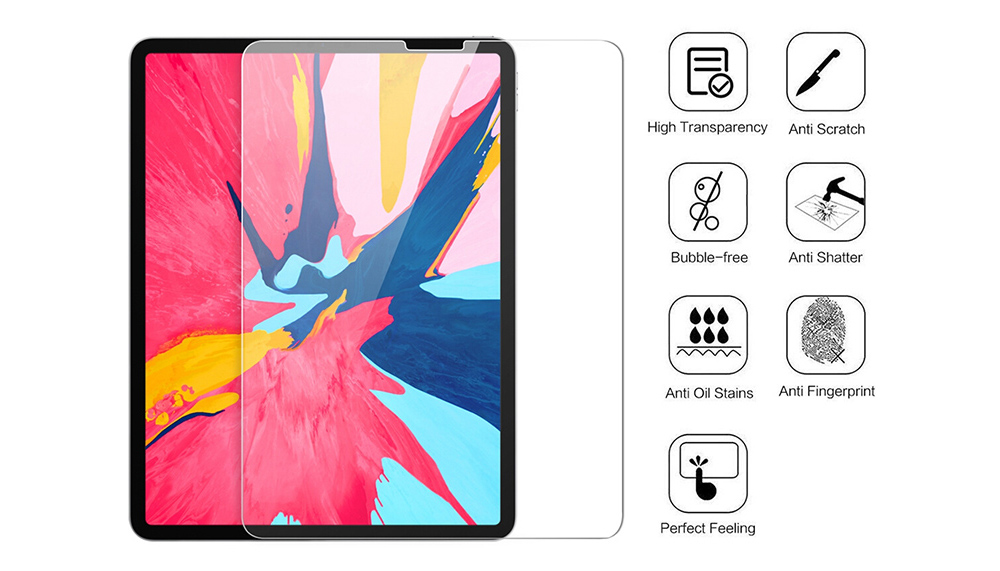 ASLING Screen Protector Transparent Tempered Film 2.5D Arc 9H Hardness Tablet Applicable to IPad Pro 11 - Transparent