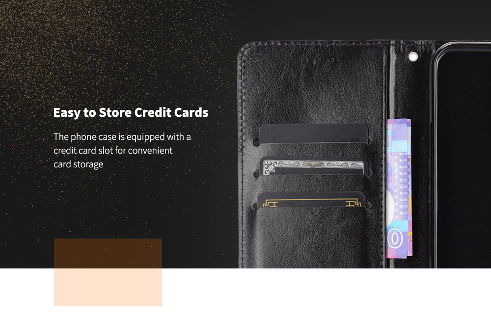 ASLING Phone Case Credit Card Slot Wallet with Bracket Suitable for CUBOT X30 - Black