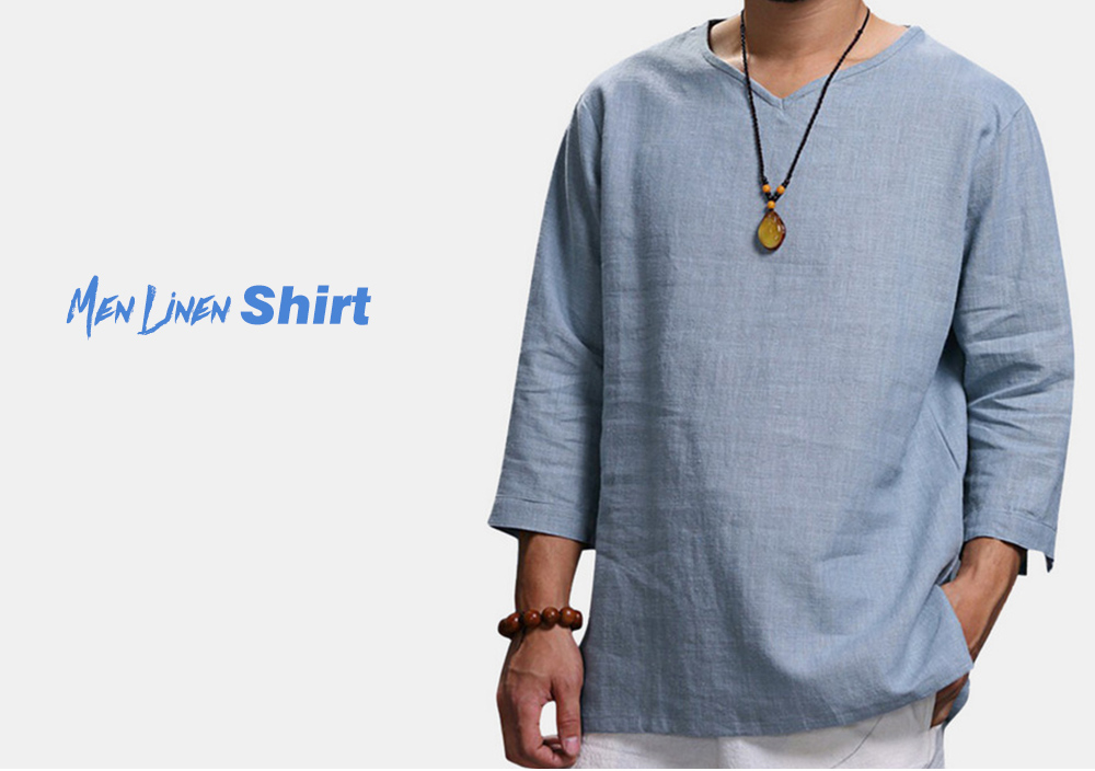 Men Linen Shirt Solid Color Casual Comfortable 3/4 Sleeves Tops - White 4XL