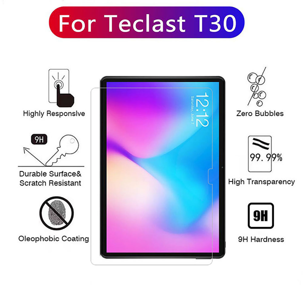 ASLING 0.3mm 9H Tablet Transparent Tempered Glass Screen Protector for Teclast T30 - Transparent