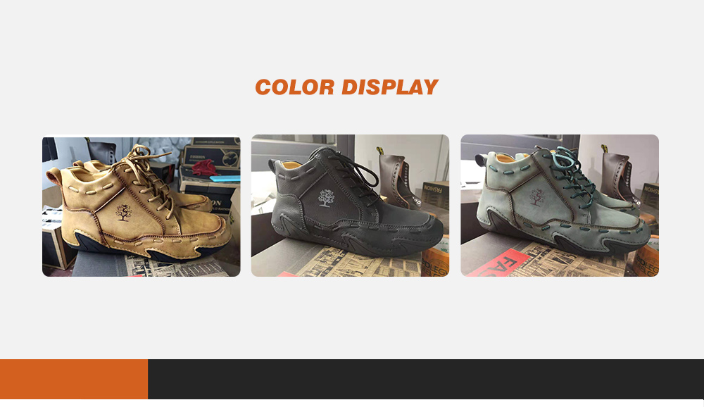 Autumn And Winter Men's Shoes Eight Jaw Fish Casual Shoes Male Large Size High-top Shoes Men With Boots - Yellow 38