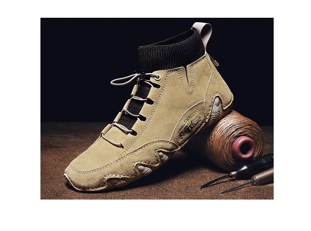 IZZUMI Mid-High Upper Octopus Peas Men Leather Casual Shoes
