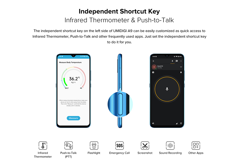 UMIDIGI A9 Smartphone Global Bands 6.53 Inch HD+ Infrared Thermometer Android 11 5150mAh 3GB 64GB Helio G25 13MP Triple Rear Camera Octa Core 4G Smartphone - Blue Independent Shortcut Key