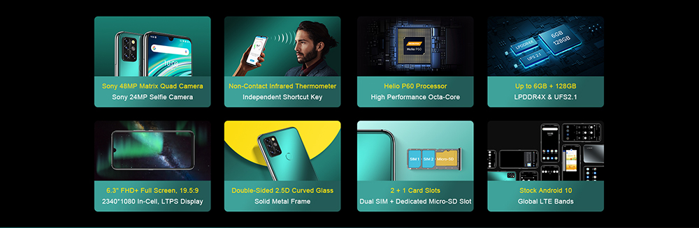 UMIDIGI A9 Pro Smartphone Global Bands 6.3 Inch FHD+ Infrared Thermometer Helio P60 Android 10 4150mAh 48MP AI Matrix Quad Camera 4G Smartphone - Black 6GB+128GB Features