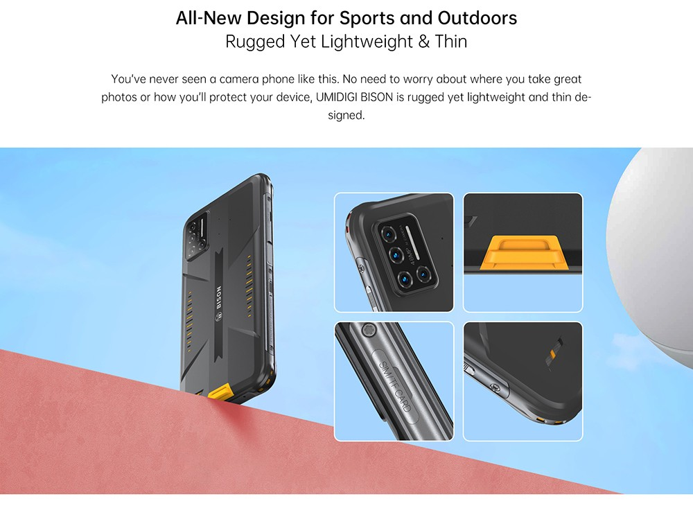 UMIDIGI BISON Smartphone Global Bands IP68 IP69K Waterproof NFC Android 10 5000mAh 6GB 128GB Helio P60 6.3 Inch FHD+ 48MP Quad Rear Camera 24MP Front Camera 4G Smartphone - Yellow All-New Design for Sports and Outdoors