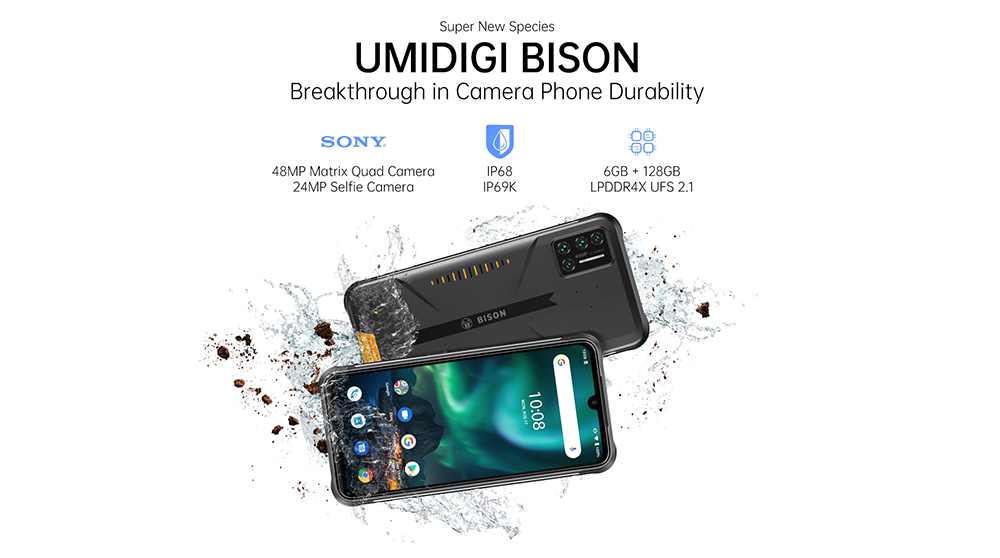 UMIDIGI BISON Smartphone Global Bands IP68 IP69K Waterproof NFC Android 10 5000mAh 6GB 128GB Helio P60 6.3 Inch FHD+ 48MP Quad Rear Camera 24MP Front Camera 4G Smartphone - Yellow UMIDIGI BISON Smartphone