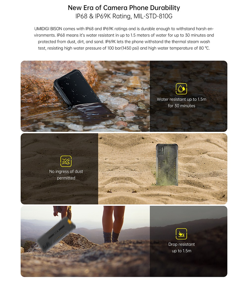 UMIDIGI BISON Smartphone Global Bands IP68 IP69K Waterproof NFC Android 10 5000mAh 6GB 128GB Helio P60 6.3 Inch FHD+ 48MP Quad Rear Camera 24MP Front Camera 4G Smartphone - Yellow New Era of Camera Phone Durability