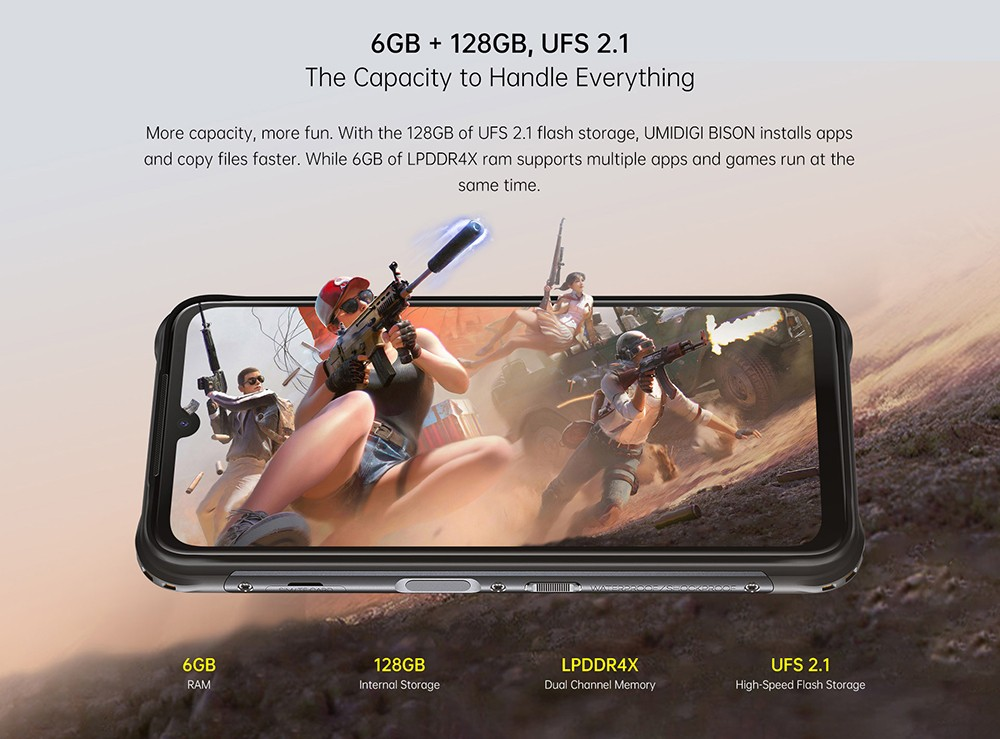 UMIDIGI BISON Smartphone Global Bands IP68 IP69K Waterproof NFC Android 10 5000mAh 6GB 128GB Helio P60 6.3 Inch FHD+ 48MP Quad Rear Camera 24MP Front Camera 4G Smartphone - Yellow 6GB + 128GB, UFS 2.1