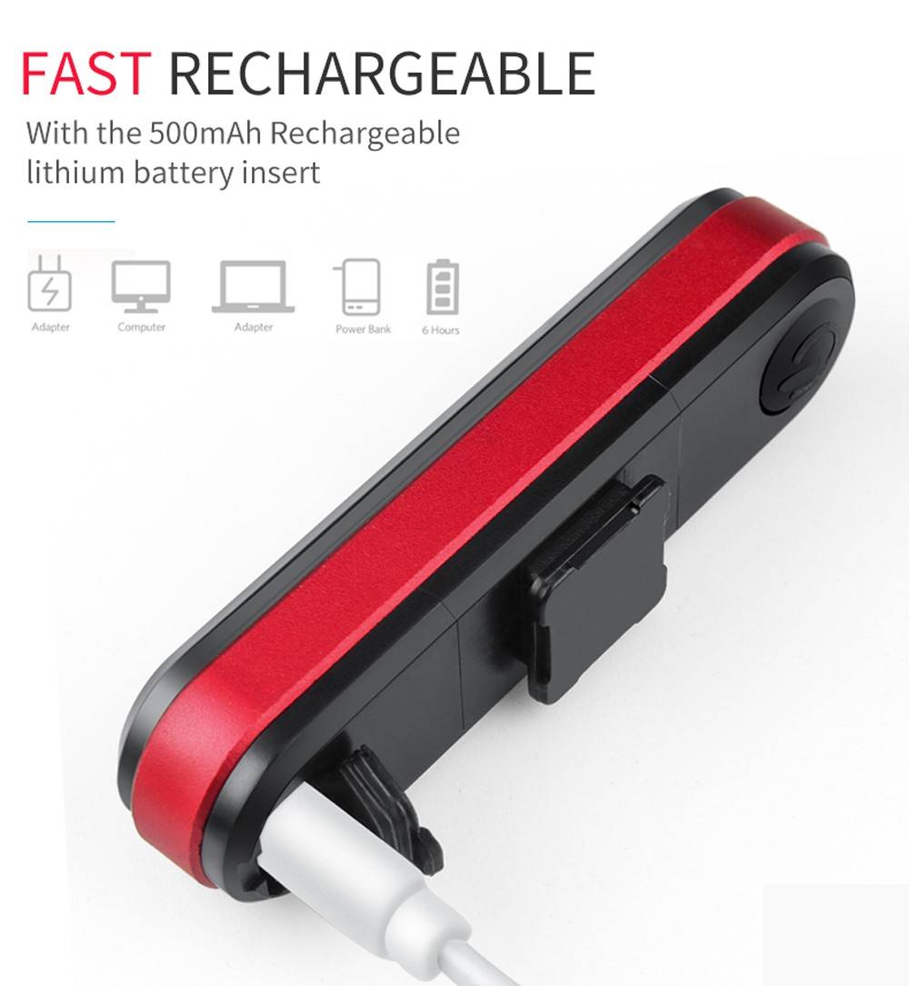 Bicycle Light USB Rechargeable Tail Light - Black