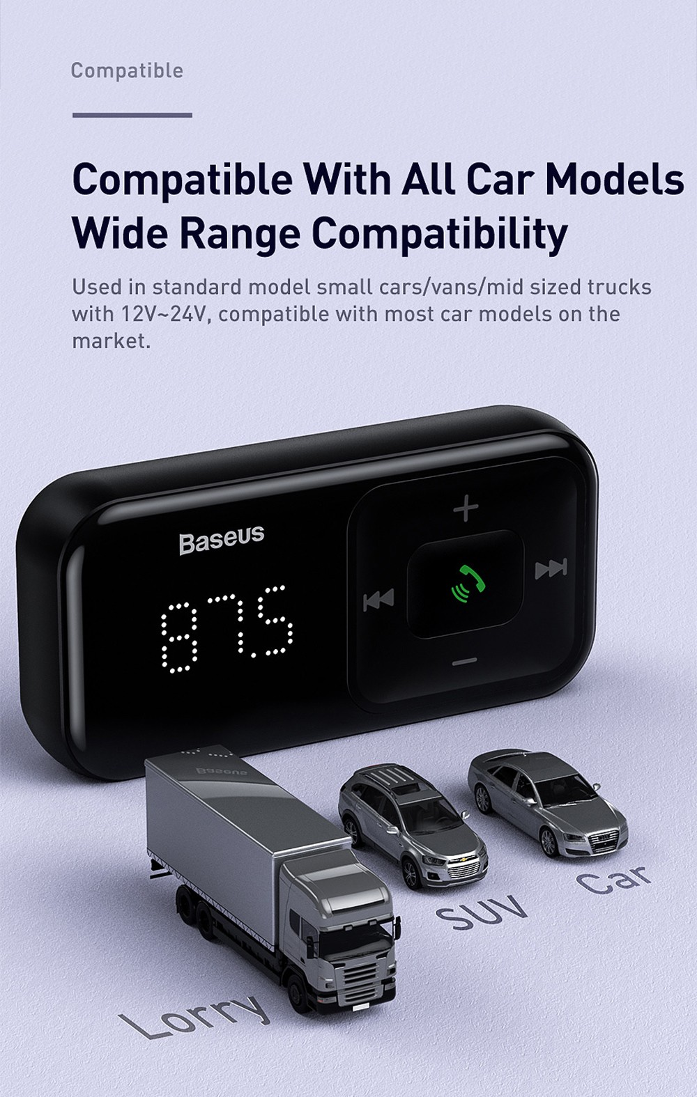 Baseus S-16 Wireless Bluetooth MP3 Car Charger - Black
