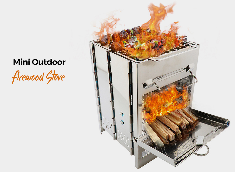 Outdoor Picnic Stainless Steel BBQ Grill Compact Folded Mini Pocket Easy Cooking