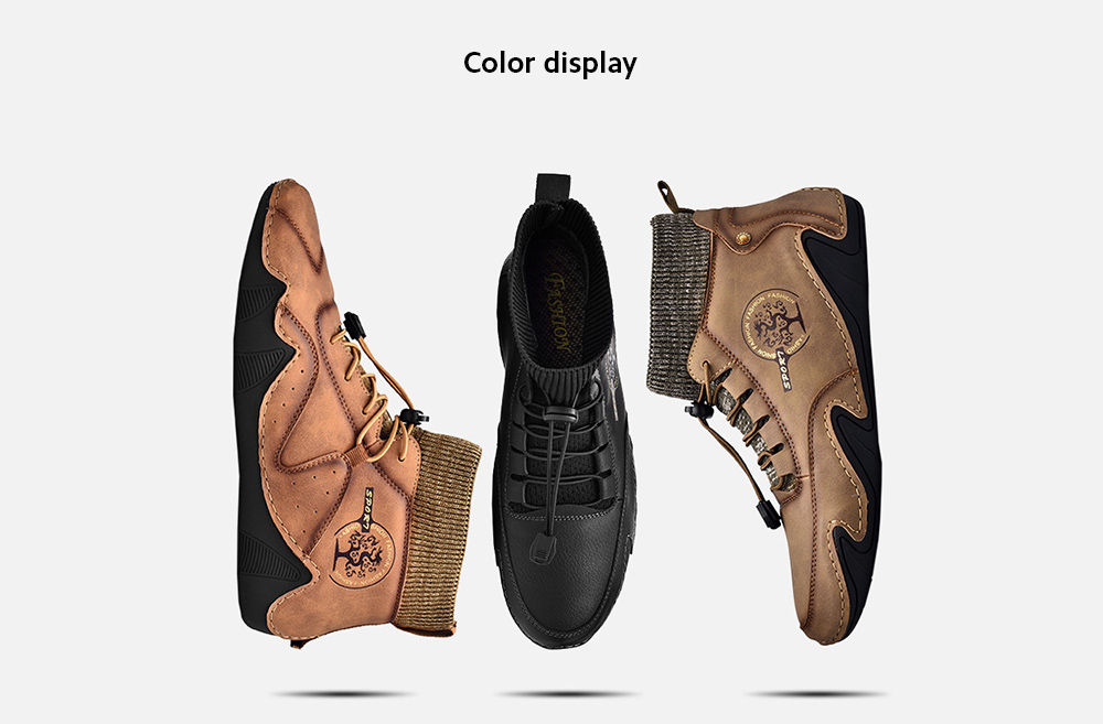 England Fashion Trendy Casual Men Hand-stitched Socks Middle Upper Boots color