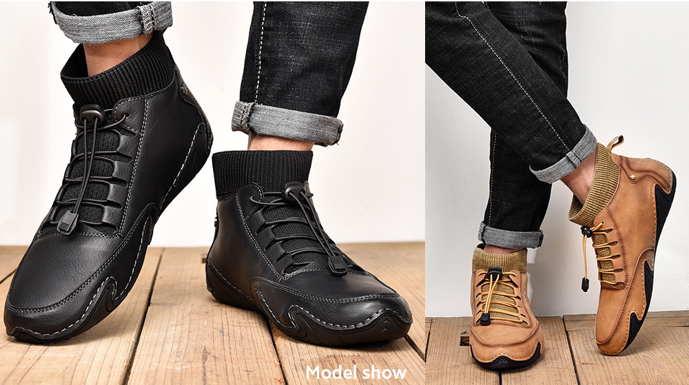 England Fashion Trendy Casual Men Hand-stitched Socks Middle Upper Boots model show