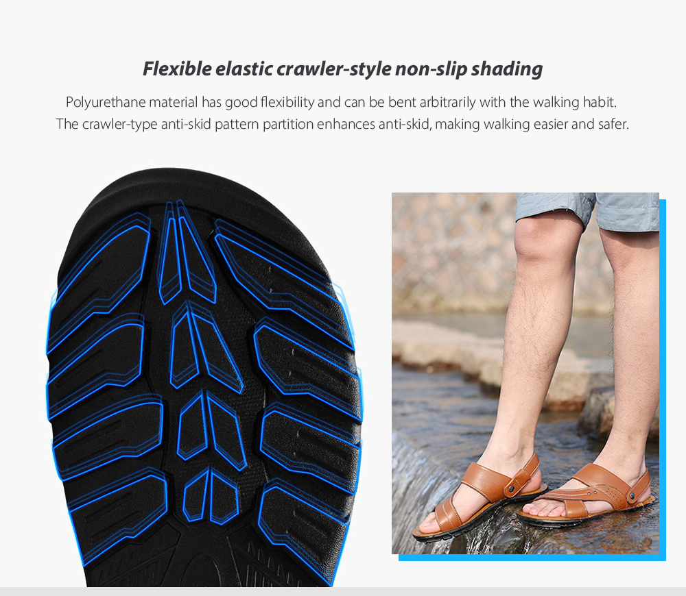 Men Sandals Summer Breathable Open TOE Leather Casual Beach Cool Sweater Non-Slip Shoes - Light Brown EU 38