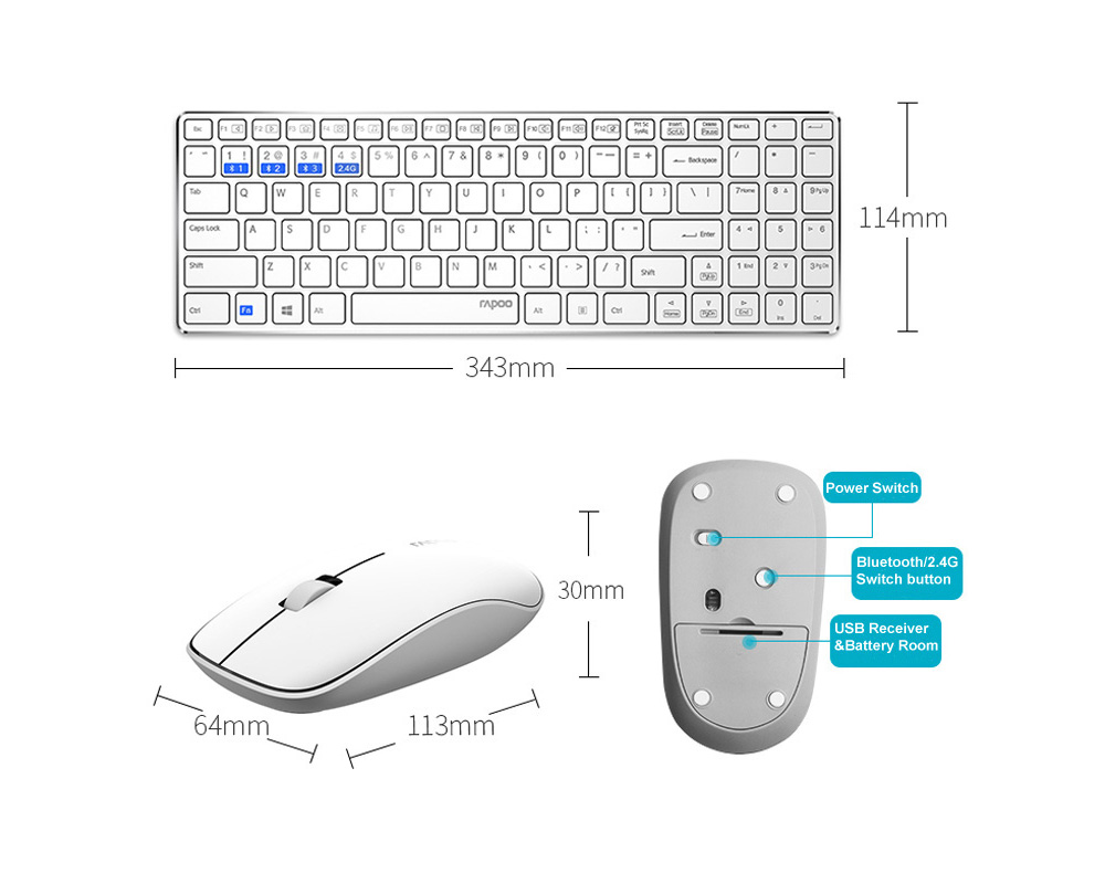 Rapoo 9300M Wireless Keyboard Mouse Kit - Black