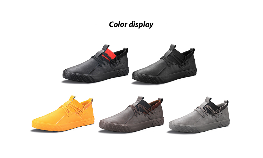 IZZUMI Men Comfortable Ultra-fiber Skin Anti-soft Bottom Low-top Casual Sports Shoes - Yellow EU 39