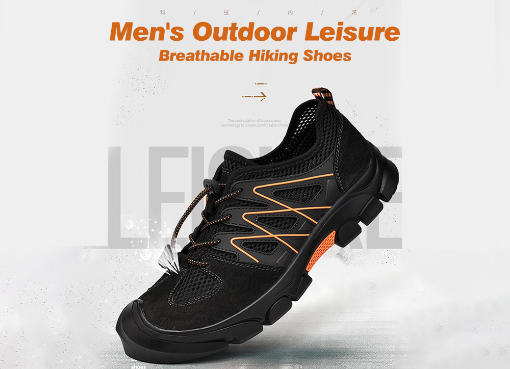 IZZUMI Men Outdoor Casual Breathable Mesh Hiking Shoes - Black EU 39